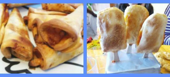 trampantojo de helado tipo cono y helado tipo palo. hecho con pizza