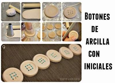 Botones de arcilla con iniciales de hilo