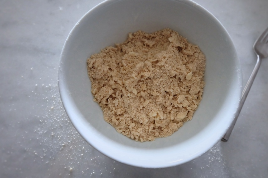 mixing crumb topping