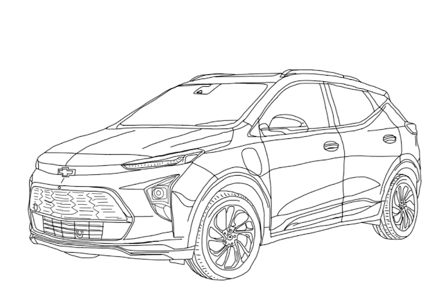 How to Draw Chevrolet Bolt EUV 2022 Step by Step