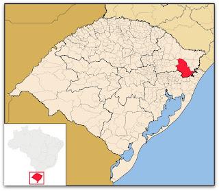 Cidade de São Francisco de Paula, no mapa do Rio Grande do Sul