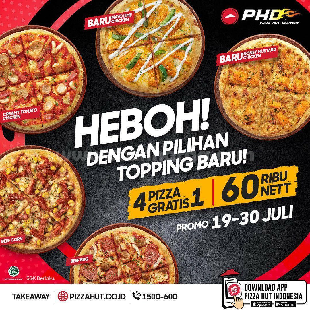 Promo PHD HEBOH - Beli 4 Pizza GRATIS 1 Harga cuma 65 Ribu nett*