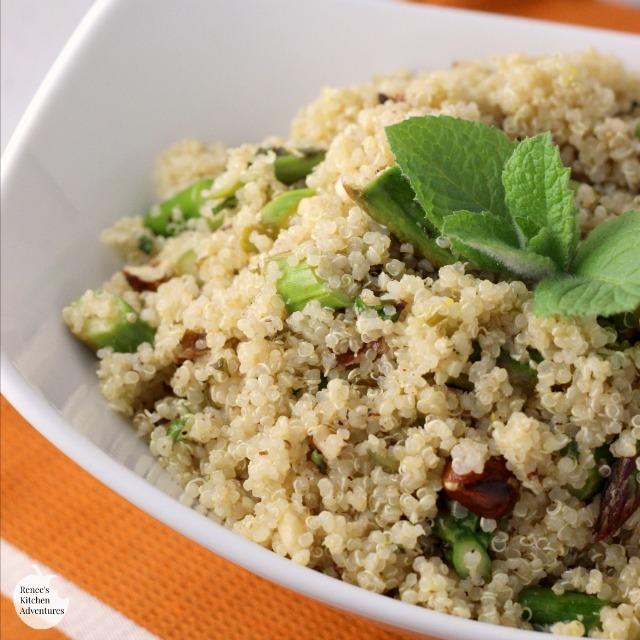 Lemon Vinaigrette Quinoa with Asparagus, Hazelnuts, and Mint