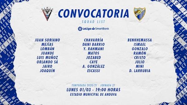 Málaga, 24 convocados ante el Mirandés