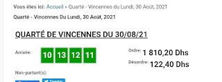 Arrivée DE AGEN DU 31/08/2021 Tiercé et Quinté QUARTE