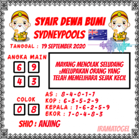 Syair Dewa Bumi Sydney Sabtu 19 September 2020
