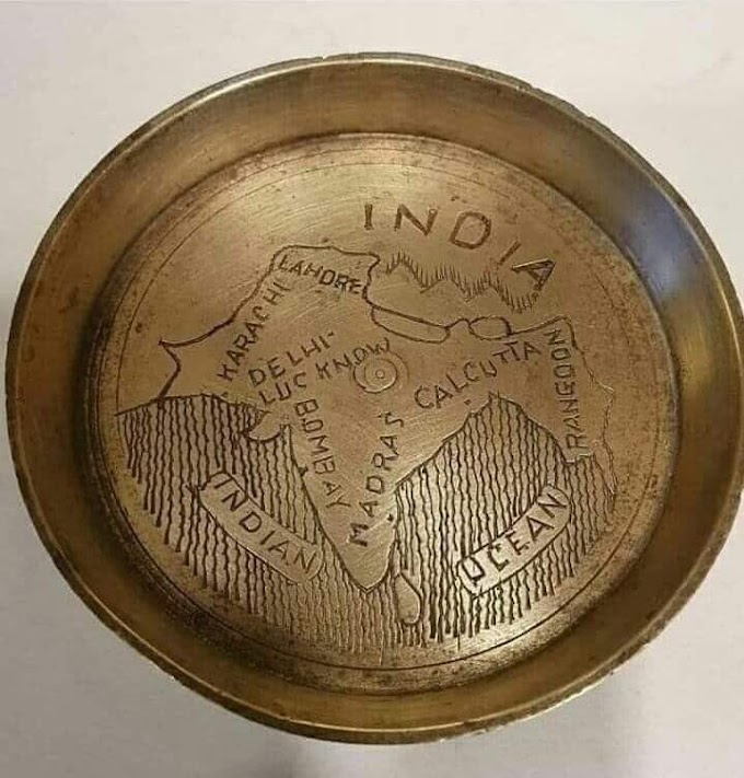Brass plate from 1867 with a map of Akhand Bharat