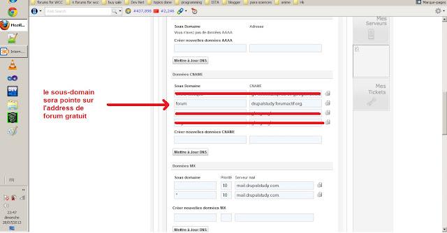 Créer un sous-domaine de type CNAME avoir adresses de forum gratuit