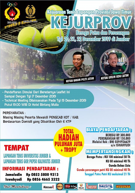 Pelti Jatim Gelar Kejurprov Tenis se Jawa Timur 2019