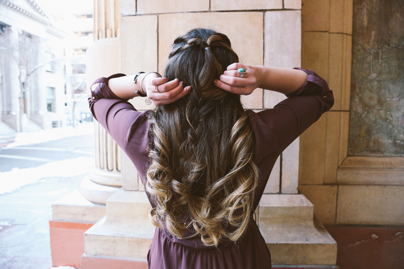 long hair style, brunette hair, turquoise rings