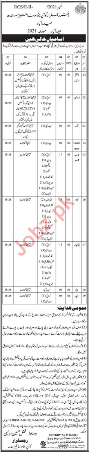 Registrar Cooperative Societies Sindh Jobs 2021