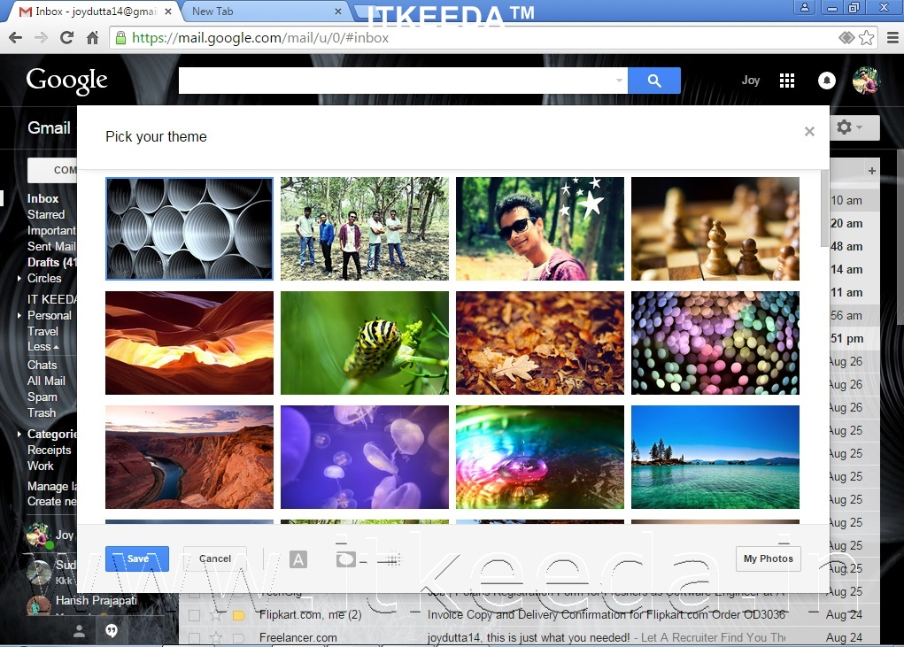 How to Change Background Of GMAIL with own photos 3