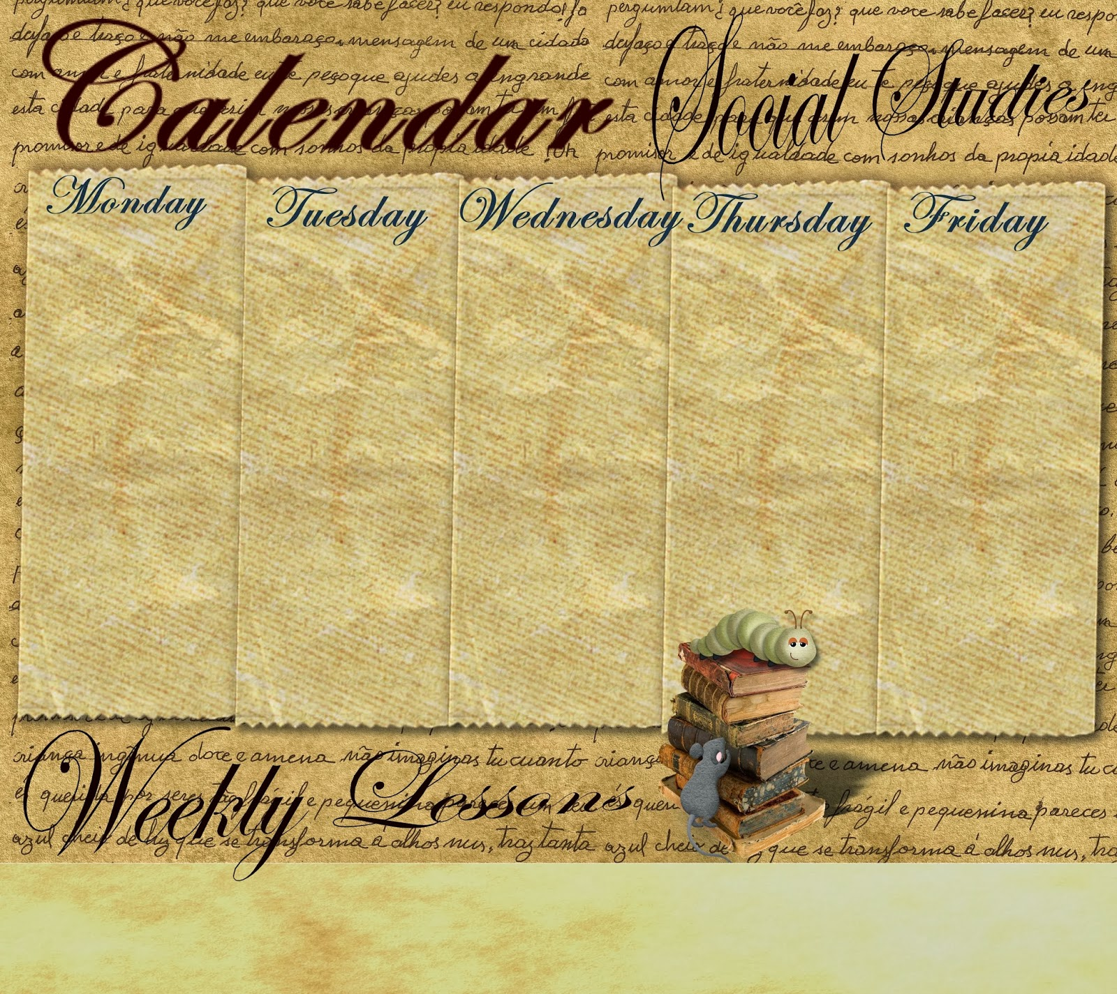 Reading Sage Weekly Calendar Templates
