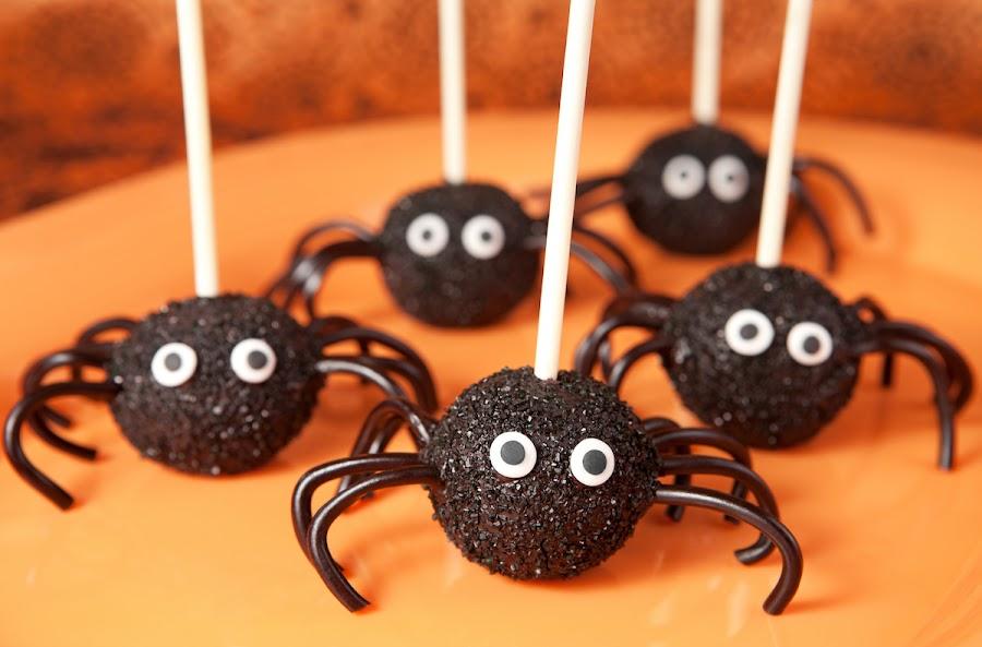 arañas dulces para halloween con chupachups