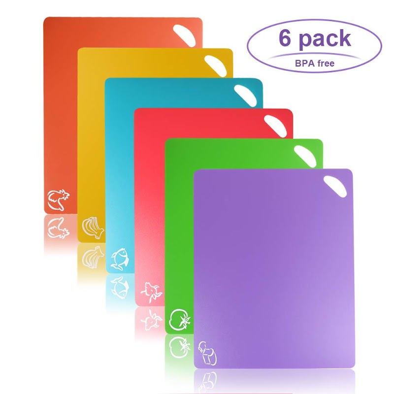 AMAZON - Cutting Board, Chopping Mat Color Coded With Food Icons Set Of 6