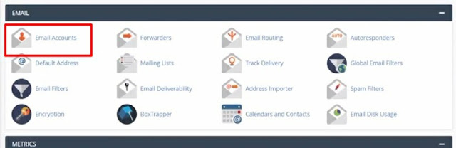 Email account tab from Cpanel to manage or create new email account