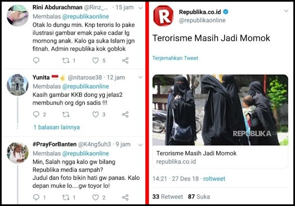 Pasang Foto Muslimah Bercadar untuk Berita 'Terorisme', Republika Tuai Protes