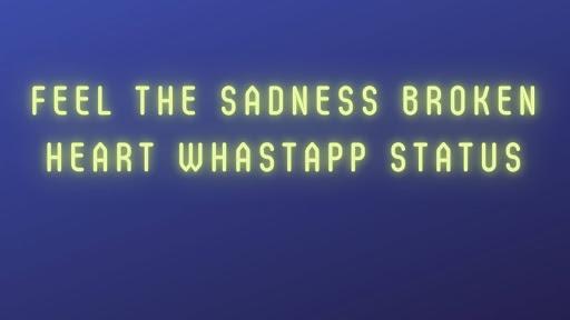 Feel The Sadness Broken Heart Whastapp Status
