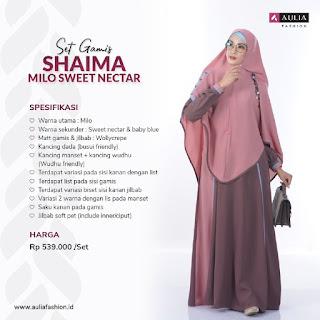 Koleksi Gamis Syari Muslimah Shaima Milo Sweet Nectar Set Syari by AULIA Fashion