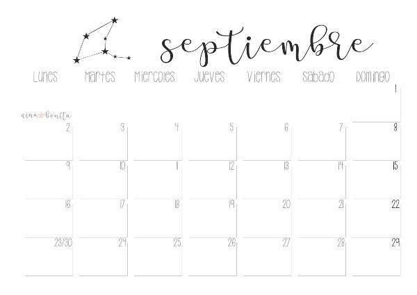 Calendario De Agosto Y Septiembre 2019.Imprimible Calendario Septiembre 2019 Nina Bonita