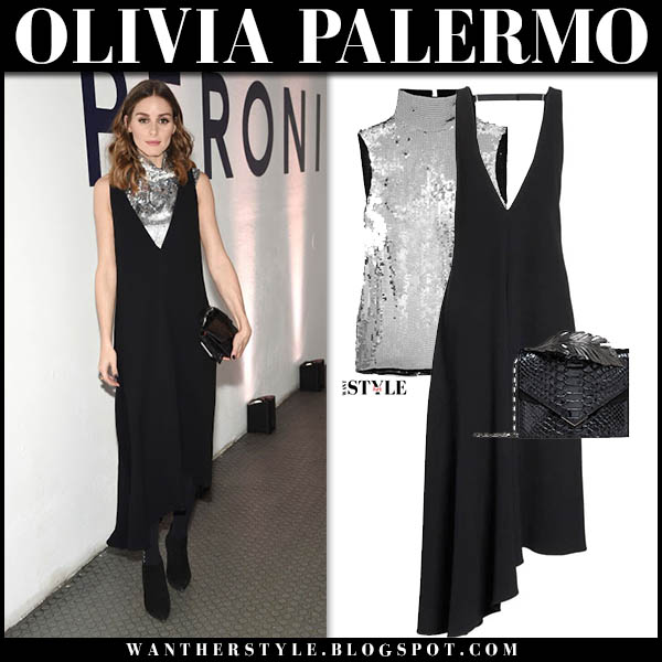 Olivia Palermo in black v-neck dress and silver sequin top tibi elegant party style october 18