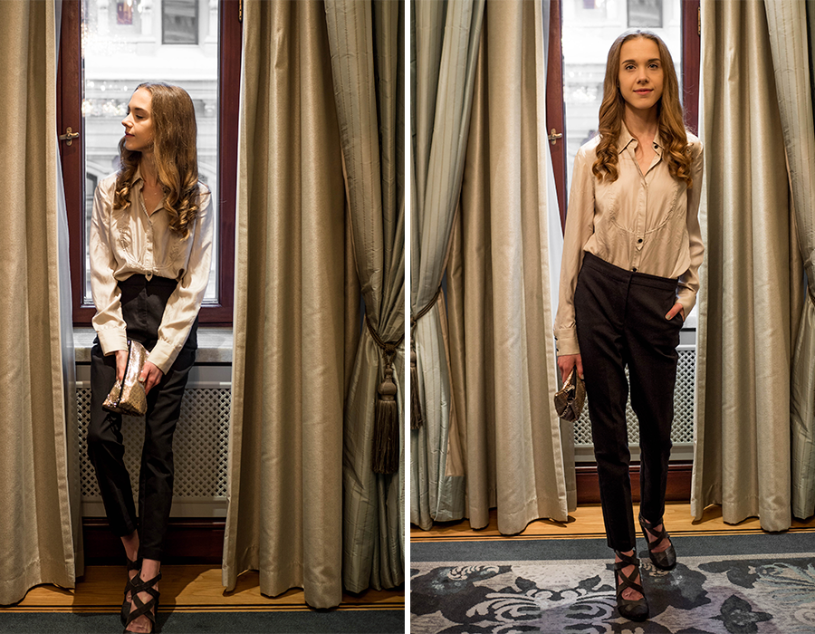 Asu jouluun: mustat puvunhousut ja silkkipaita // Christmas outfit inspiration: tailored suit trousers, silk blouse