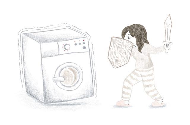 ilustración de lavadora, poner una lavadora, centrifugado, lavadora centrifugando, ruido de centrifugado