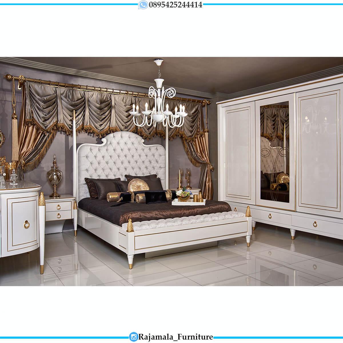 Tempat Tidur Mewah Putih Duco Luxurious Art Deco Design RM-0708