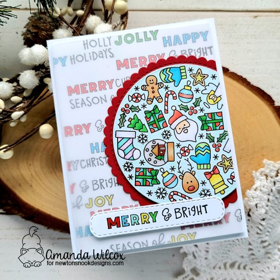 Merry & Bright Holiday card by Amanda Wilcox | Christmas Roundabout Stamp Set, Circle Frames Die Set, and Banner Trio Die Set by Newton's Nook Designs #newtonsnook #handmade