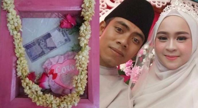 Modal Mahar 10ribu, Pria Ini Berhasil Meminang Wanita Cantik Menjadi Istrinya.