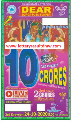 Sikkim Dear Durga Puja Bumper Lottery Results 2020 Live Draw