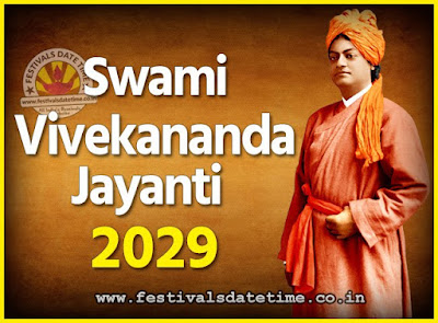 2029 Swami Vivekananda Jayanti Date & Time, 2029 National Youth Day Calendar