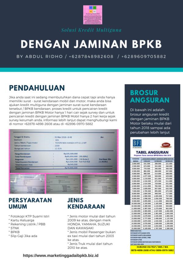 Solusi kredit multiguna dengan jaminan BPKB Mobil dan BPKB Motor