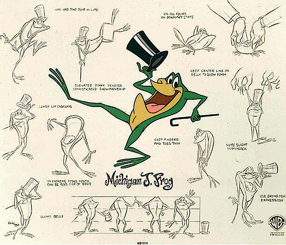 a Warner Bros. model sheet from the animation 'One Froggy Evening', Michigan J. Frog