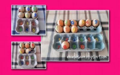 Numeración con huevos plásticos