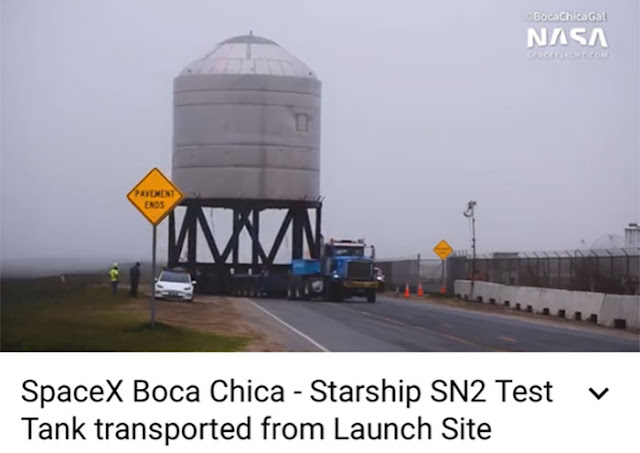 Moving the SN2 tank back to the assembly area (Source: @BocaChicaGal)
