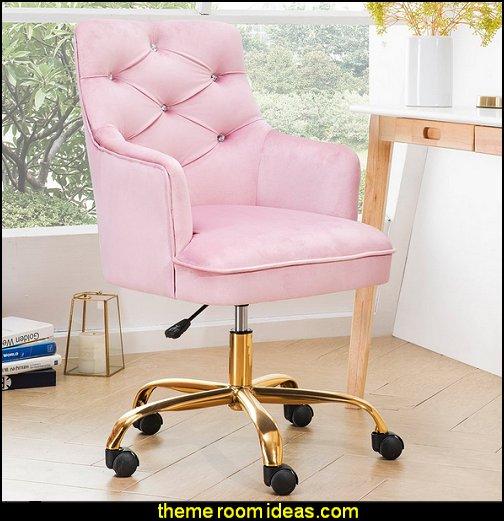 pink office chair Plush Velvet Office Chair girls office chair pink gold office chair