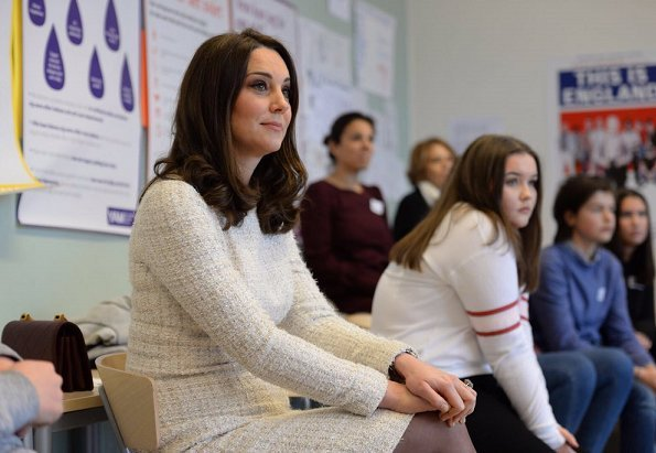 Kate Middleton wore a Catherine Walker coat, and wore a bespoke Alexander McQueen dress. Princess Victoria wore Acne-Studios coat