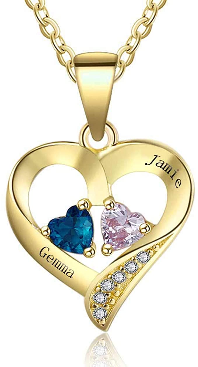 50% OFF Sterling Silver Personalized 2 Names Necklace with 2 Heart Simulated Birthstone