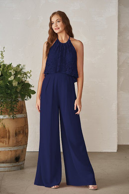 Dresses your bridesmaids will love and can wear again after the wedding - wedding dress ideas - blue neckline lace georgette wide leg jumpsuit - wedding ideas blog - K'Mich Weddings Philadelphia - jasminbridal.com