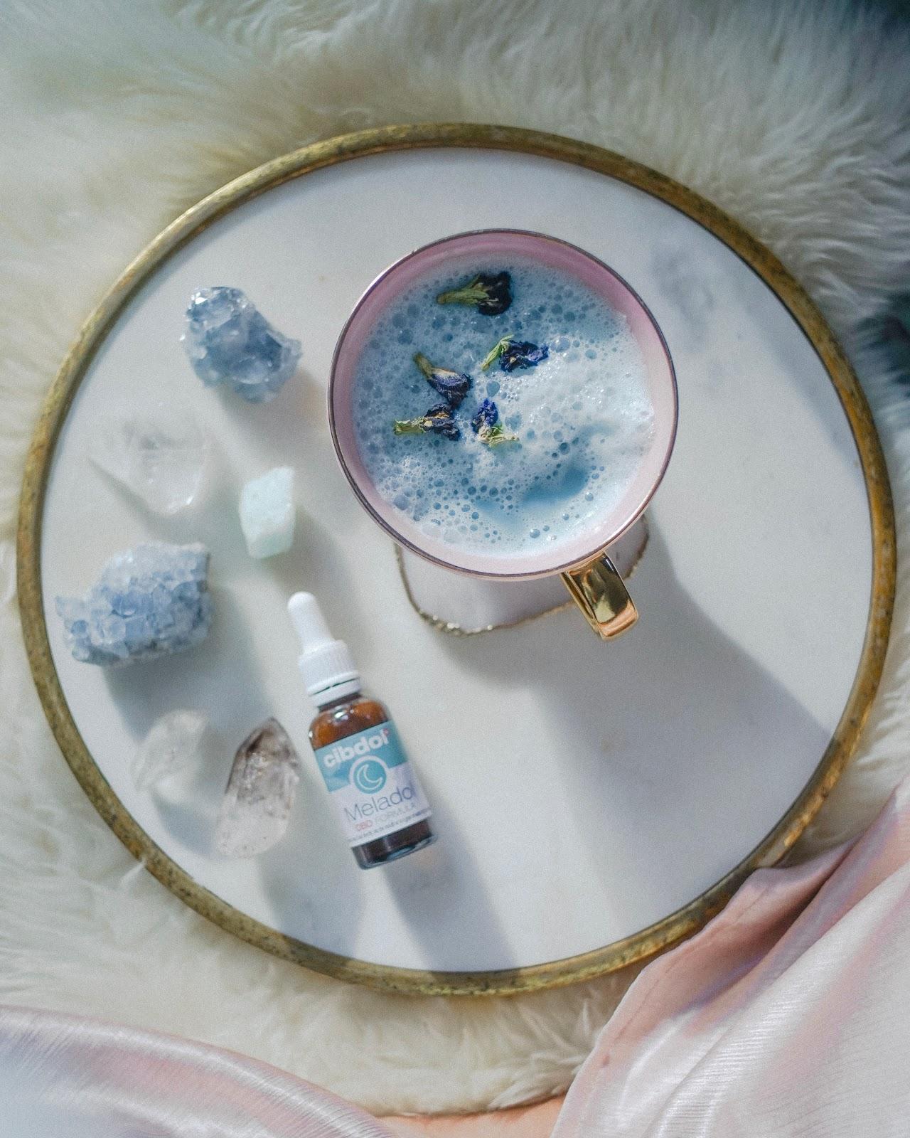 butterfly pea flower blue moon milk melatonin sleep cbd recipe