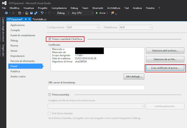 Visual Studio, Firma manifesti ClickOnce