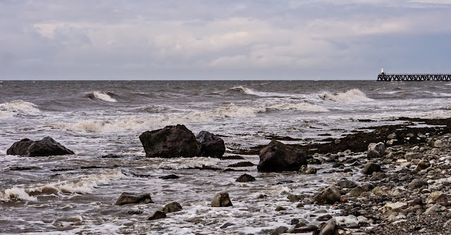Photo of waves being whipped up by the wind on Maryport shore on Saturday afternoon