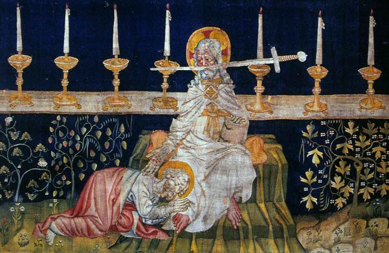 Cristo gladífero no trono, as sete igrejas e São João. Tapeçaria do Apocalipse, Angers.