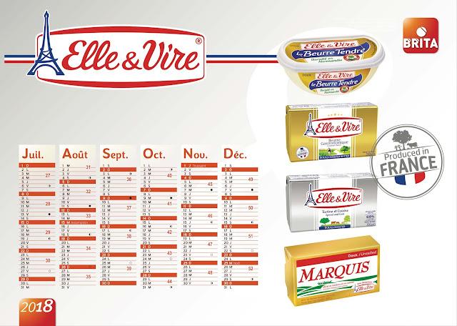 création calendrier plateau Elle & Vire 2018, verso