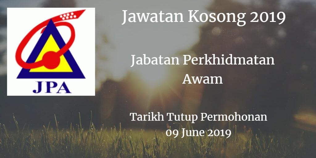 Jawatan Kosong JPA 09 June 2019
