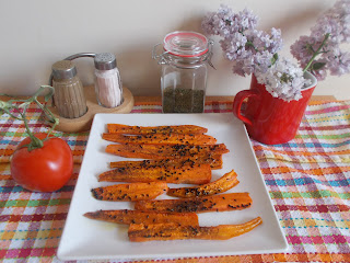 Pieczone marchewki - alternatywa dla czipsów, zdrowa przekąska dla dzieci, przekąski na seans filmowy, zdrowe przekąski na imprezę, zdrowe przekąski na podróż, zdrowe przekaski na piknik