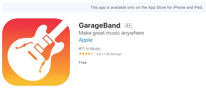 download garageband dari app store apple