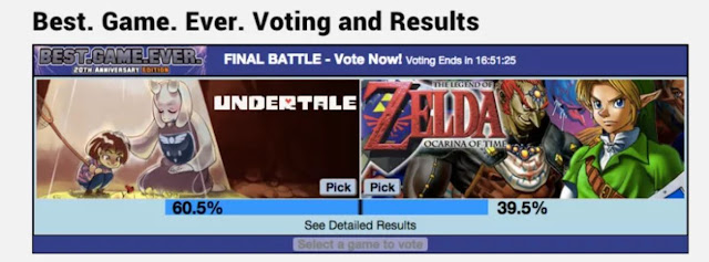GameFAQs Best. Game. Ever. 2015 contest Undertale versus The Legend of Zelda Ocarina of Time final battle round