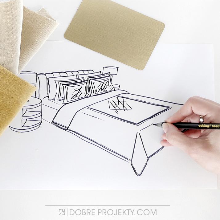Odręczny rysunek luksusowej sypialni marzeń Katarzyna Sobańska-Jóźwiak